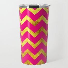 Pink & Gold Chevron Travel Mug