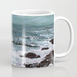 """Sound of the Sea"" Teal Seascape Ocean Painting Coffee Mug"