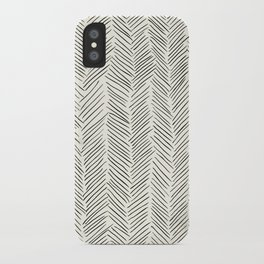 Herringbone Black on Cream iPhone Case