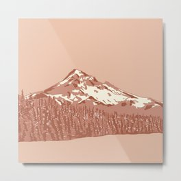 Mount Hood in Peach Pink Metal Print