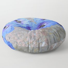 Blue Flowers in Marquette Floor Pillow