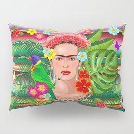 Frida Kahlo Floral Exotic Portrait Pillow Sham