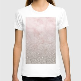 Beige glitter gradient on cotton candy clouds T-shirt