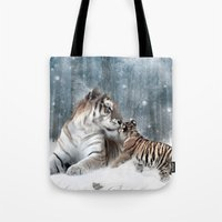 tigers Tote Bags featuring Tigers by Julie Hoddinott