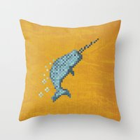 narwhal Throw Pillows featuring Narwhal by Tamm + Kit