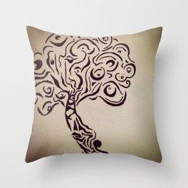 Ink Doodle Eyeball Tree Throw Pillow