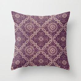 Burgundy Portuguese Tiles Throw Pillow