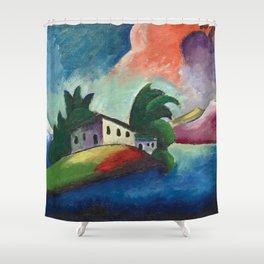 Tuscany, Italy rolling hills and vineyards landscape painting by Ilya Mashkov Shower Curtain