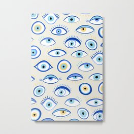 blue all seeing eye amulet pattern Metal Print