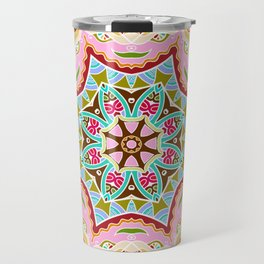 Decorative colorful ornament on white background, symmetric pattern with doodle lace frame. Tribal ethnic mandala decor. Bandana shawl, hijab, tablecloth fabric print, silk neck scarf, kerchief design Travel Mug