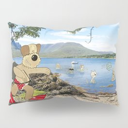 Funny Dog Painting in Photograph - Airedale Terrier Pranking Cats Pillow Sham
