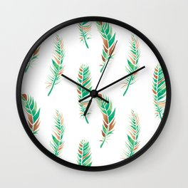 Watercolour Feathers - Greenery and Copper Wall Clock