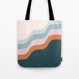 Abstract Diagonal Waves in Teal, Terracotta, and Pink Tote Bag