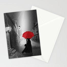 Alone in the rainy night Stationery Cards