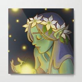 Dryad and Fireflies Metal Print