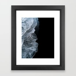 Waves on a black sand beach in iceland - minimalist Landscape Photography Framed Art Print