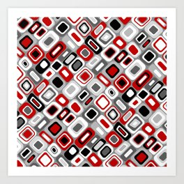 Diagonal Mid Century Modern Squares and Rectangles // Red, Gray Black, White Art Print