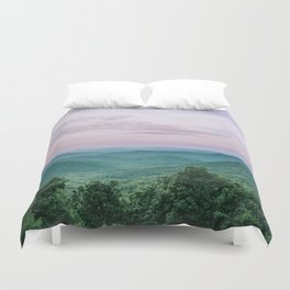 Pink Sunset over the Blue Ridge Mountains Duvet Cover