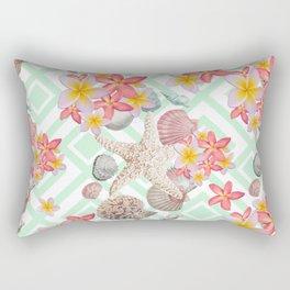 Modern tropical flowers seashells geometric design Rectangular Pillow