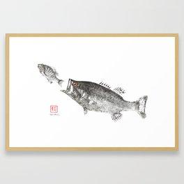 Largemouth chasing sunfish Framed Art Print