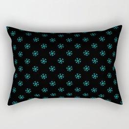Cyan on Black Snowflakes Rectangular Pillow