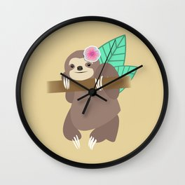 Sloth Illustration Wall Clock