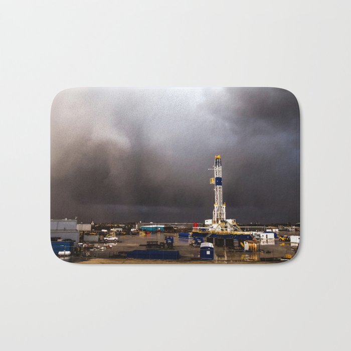 Oil Rig - Storm Passes Behind Derrick in Central Oklahoma Bath Mat