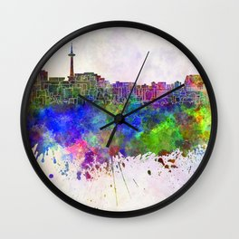 Kyoto skyline in watercolor background Wall Clock