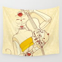 violin Wall Tapestries featuring Violin Bubbles by Guilherme Marconi