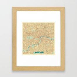 London Map Retro Framed Art Print