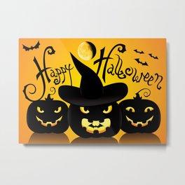 Happy Halloween Pumpkins Silhouette  Metal Print