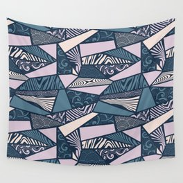 Shapes and swirls pattern Midnight Blue Combo Wall Tapestry