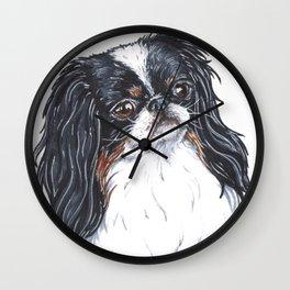 Cute dog - japanese chin Wall Clock