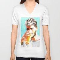 zayn V-neck T-shirts featuring Zayn-Juice by dariemkova