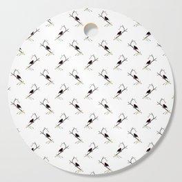 Blackbird Pattern in Black And White Cutting Board