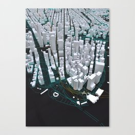 3D New York Map Canvas Print