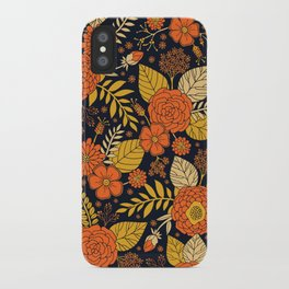 Retro Orange, Yellow, Brown, & Navy Floral Pattern iPhone Case