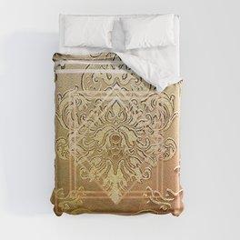 Golden vintage damask with a twist Duvet Cover
