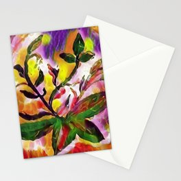 Vibrant colors plants watercolor painting enhanced with digital art effect. Stationery Cards