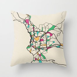 Colorful City Maps: Marseille, France Throw Pillow