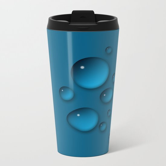 Water drops on a blue background Metal Travel Mug