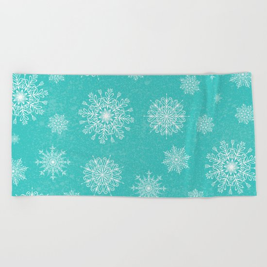 Assorted Snowflakes On Turquoise Backround Beach Towel