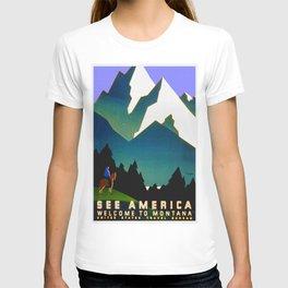 See America Montana - Retro Travel Poster T-shirt