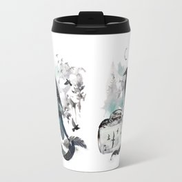 Blackwinged Birds Fly Past The Moonlit Raven's Eye Travel Mug