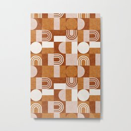 aria geometric patchwork - orange Metal Print