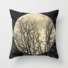 Tree with Crow Against Full Moon A181 Throw Pillow