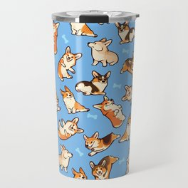 Jolly corgis in blue Travel Mug