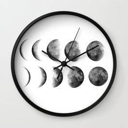 Phases (white) Wall Clock