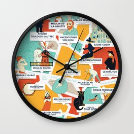 Montmartre Illustrated Map Wall Clock