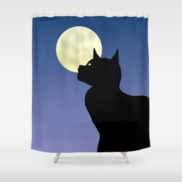 Moon and black cat Shower Curtain